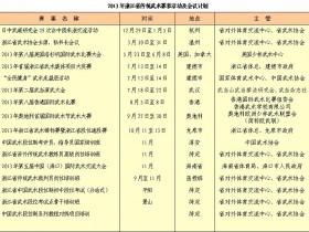 2013年浙江省武术竞赛、培训、活动计划表
